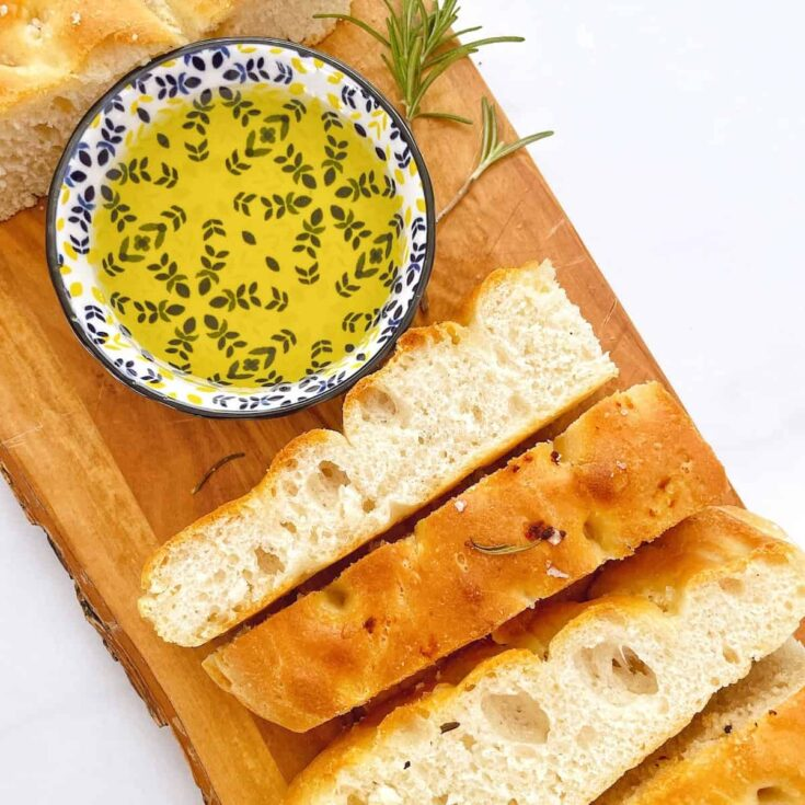 focaccia sliced with olive oil