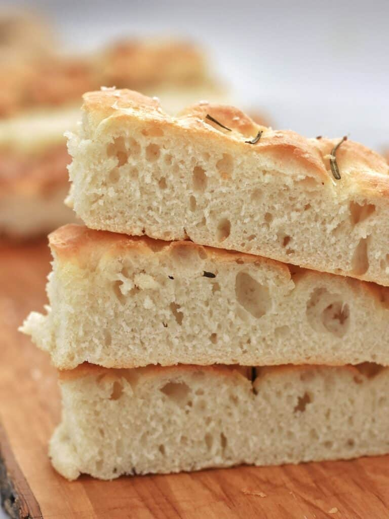 Slices of Thermomix focaccia stacked on top of each other