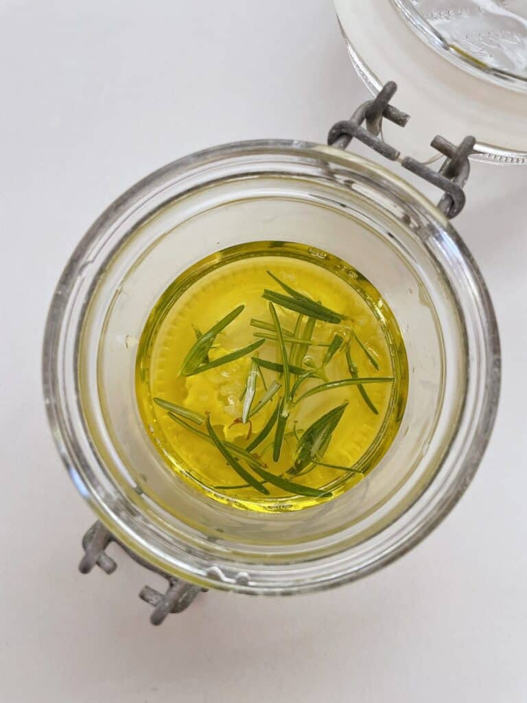 Olive oil infused with garlic and rosemary