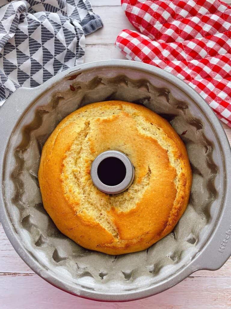 Thermomix Lemon Bundt Cake baked but still in bundt tin