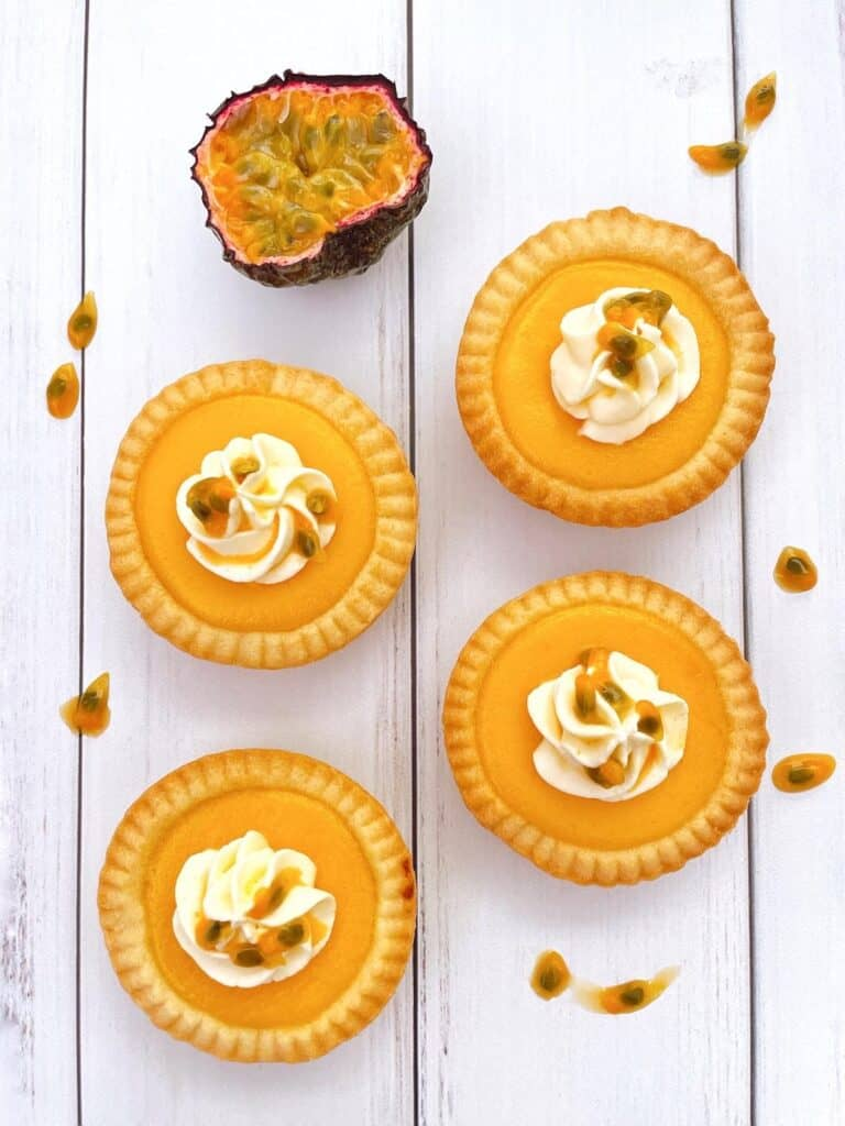 Thermomix passion fruit tarts on table