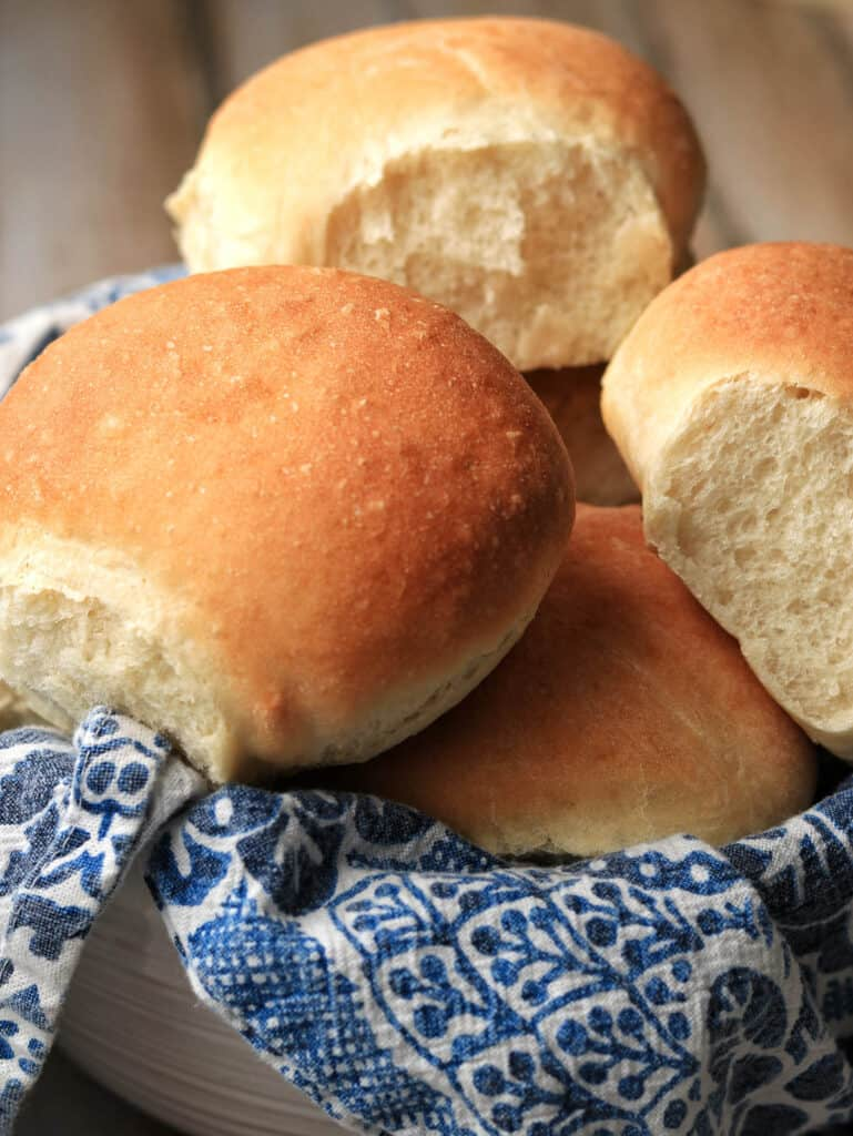Thermomix bread rolls in basket