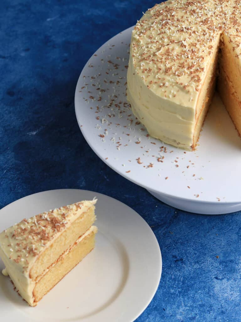 Slice of Thermomix White Chocolate Mud Cake from above