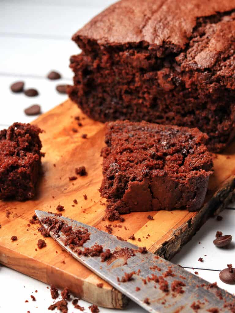 Thermomix Chocolate Zucchini Bread sliced with knife