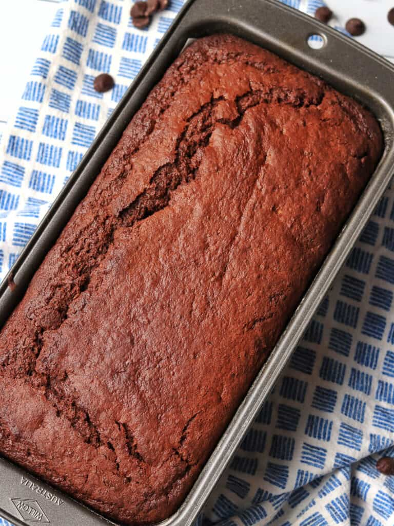 Thermomix Chocolate Zucchini Bread in loaf tin