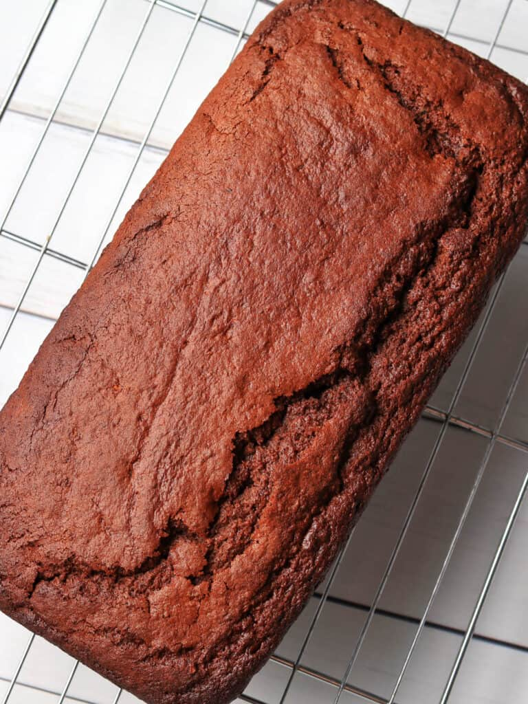 Thermomix Chocolate Zucchini Bread cooling on wire rack