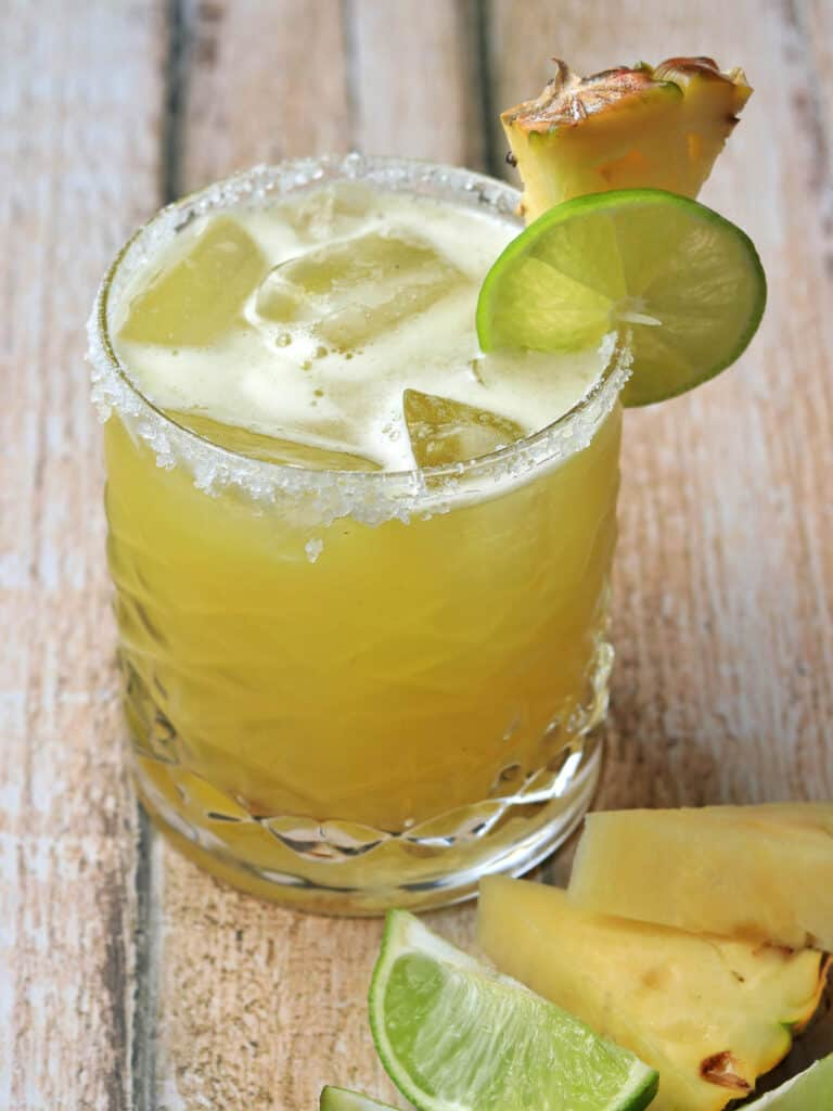 Pineapple Margarita on wooden table