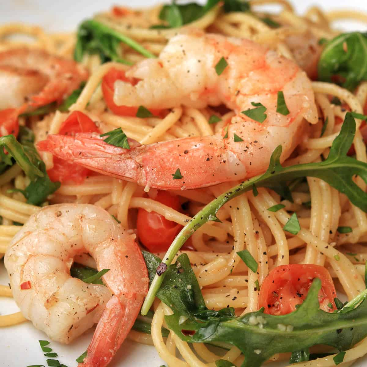 Prawn aglio olio spaghetti