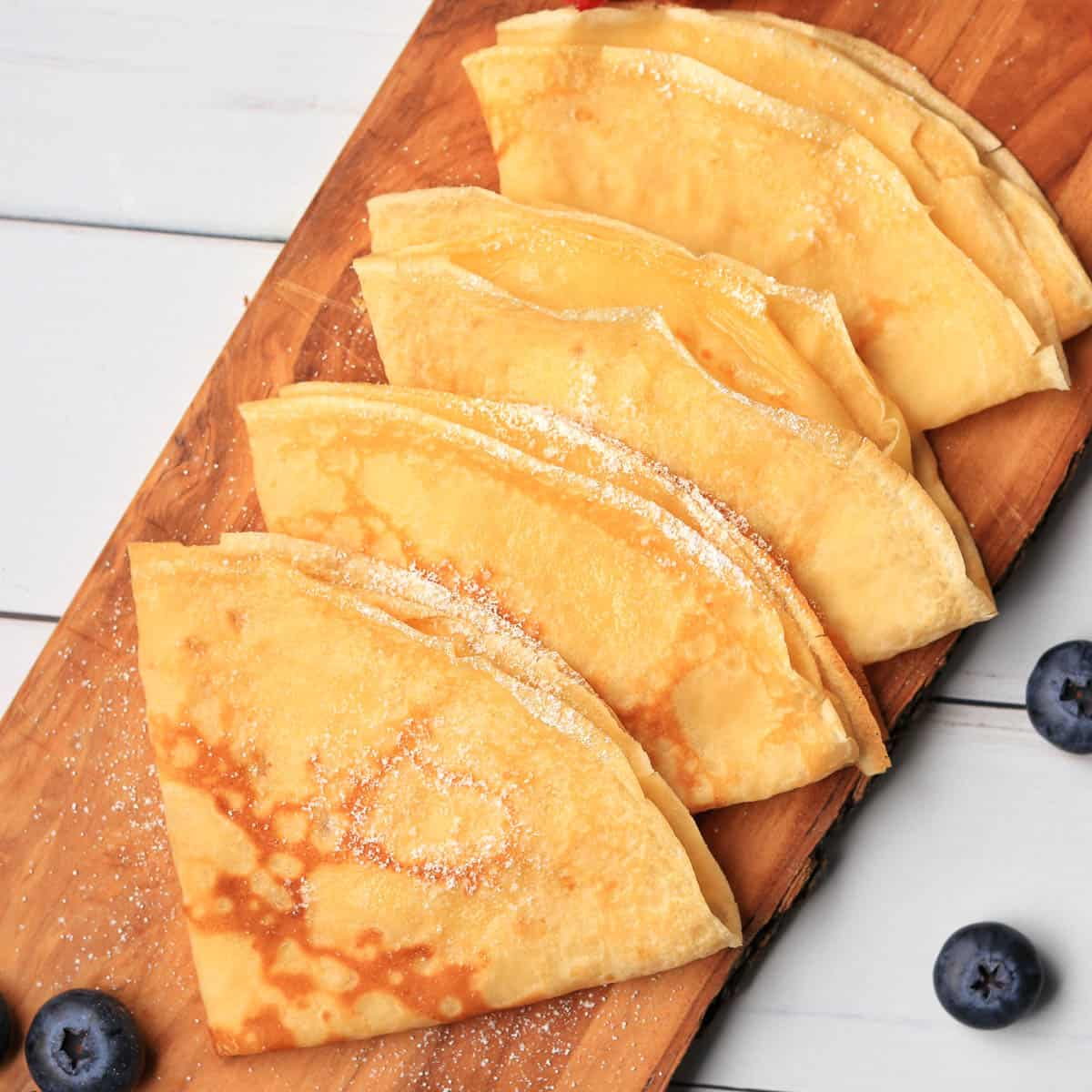 Thermomix Crepes folded on a board