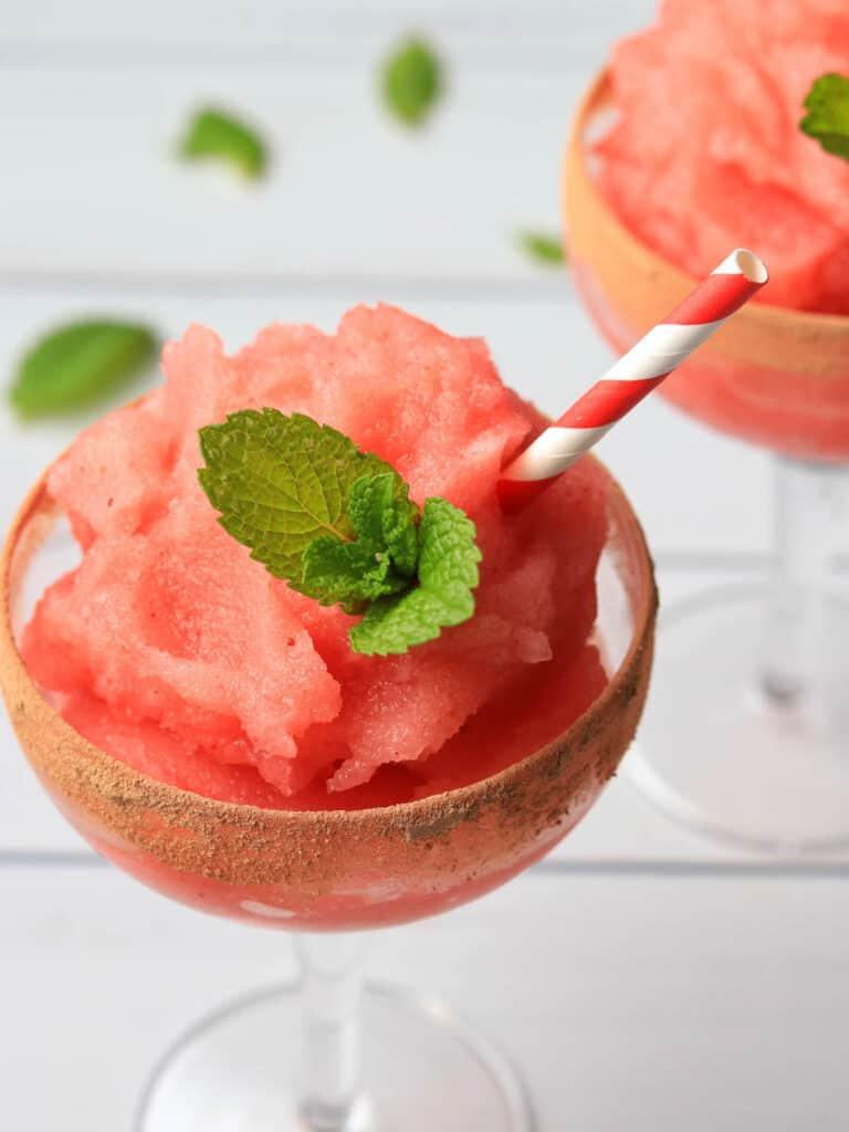 Thermomix Strawberry Daiquiris on white background