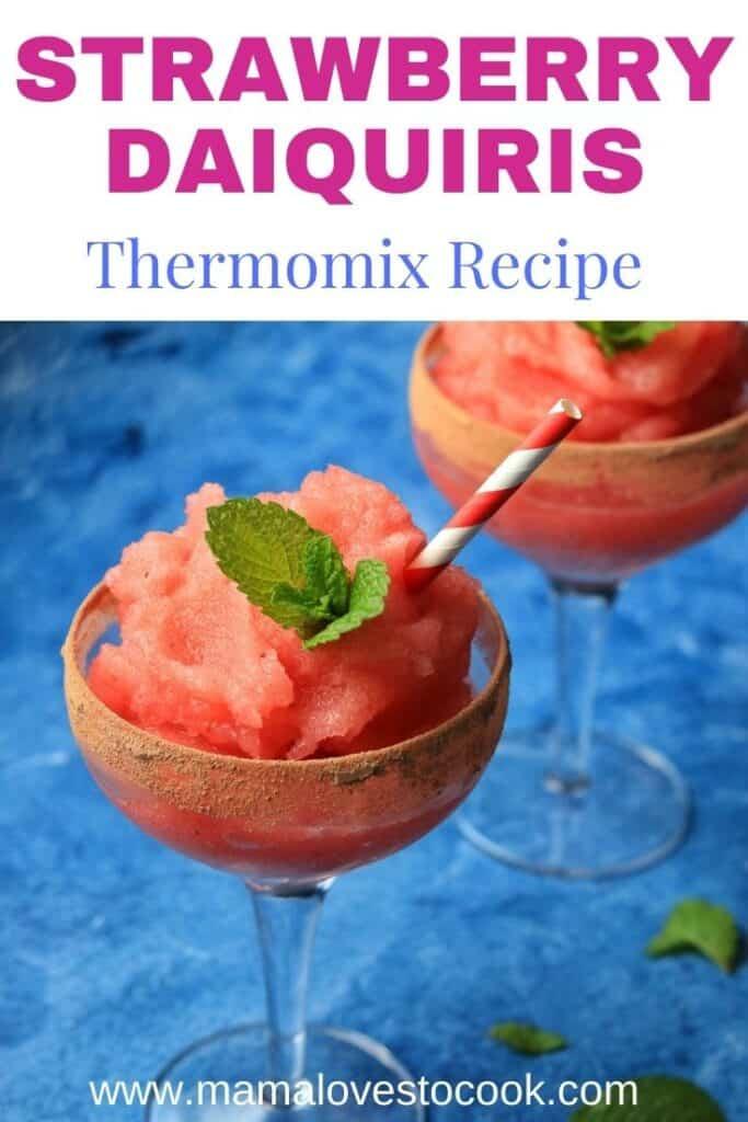 Thermomix Strawberry Daiquiris pinterest pin
